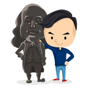 Cartoon YD and Ben Franklin